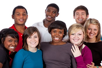 A multi-racial group of college students on a white background